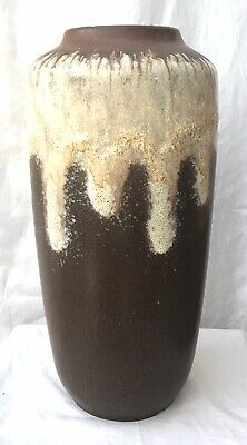 West German Ceramic Pottery Large Tall Drip Glaze Fat Lava Floor Vase 48.5 Cm • 25£