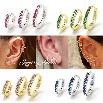 AU12.44 • Buy Rainbow Gem Petite Diamonds 9K GOLD GP EAR CARTILAGE RING PIERCING HOOP EARRINGS