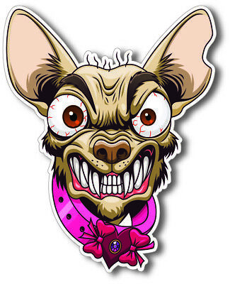 Two ANGRY CHIHUAHUA Snarling Lap Dog Cartoon Vinyl Decal Stickers • 2.99£