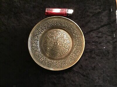 Antique Indian Brass Plate Beautifully Chased • 10£