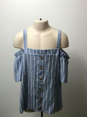Bnwt Girls Matalan Blue & White Off The Shoulder Top Shirt Age 13 Years • 7.49£