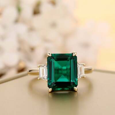 £99 • Buy 6.2 Ctw Emerald Cut Colombian Green Diamond Engagement Ring 14k Yellow Gold Over