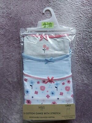 M&S Girls 3 Cotton Camis Vests With Stretch Age 3-4 Years BNIP • 5.49£