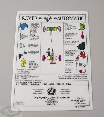 Rover P6 2000 Auto Information Label 560169 • 8.50£