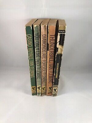 Ian Fleming James Bond Pan Books X 5 Inc Casino Royale Thunderball Goldfinger • 14.99£