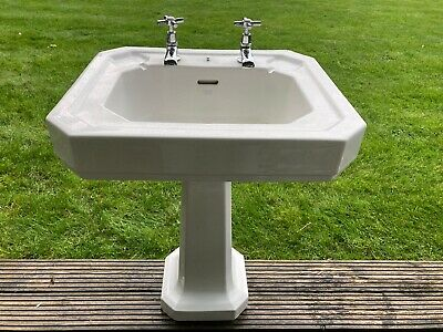 Armitage Shanks White Sink With Pedestal & Two Stainless Steel Taps • 0.99£