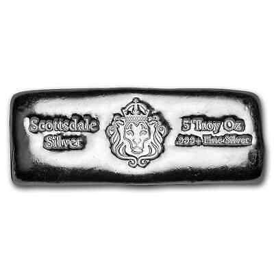$ CDN201.51 • Buy 5 Oz Silver Cast-Poured Bar - Scottsdale - SKU#195376