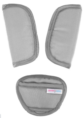 3 Piece Baby Stroller Car Seat Strap Covers & Crotch Pad Universal Light Grey • 3.99£