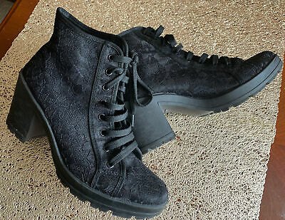 Ladies Red Herring Black Ankle Boots Chunky Block Heel And Sole Size UK 6 EU 39 • 3.50£