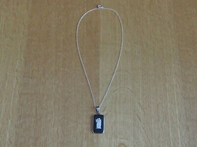 Wedgwood Black Pendant Necklace Hallmarked Silver - Excellent Condition • 10£
