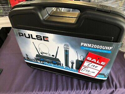 NEW Pulse Professional Wireless Twin Headset Microphone System PWM2000UHF-BP • 100£