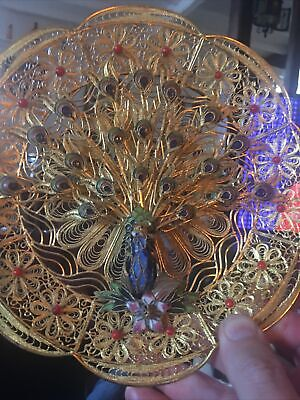 Indian Enamelled Peacock Decorative Filagree  Gold  Wall Plate • 14.99£