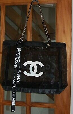 Chanel Vip Verified  Beauty Gift Of Black Mesh Tote Bag With Chain Handle • 100£
