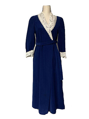 Vanity Fair Vintage Womens S Blue Fleece Belted Robe Lace Collar And Cuffs • 17.88£