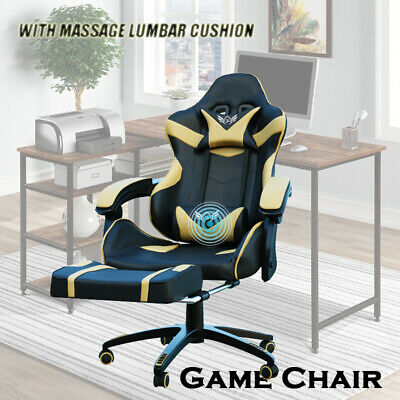 AU119 • Buy Deluxe Gaming Chair Footrest Office Computer Racing Pu Leather White