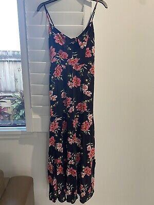 AU30 • Buy Forever New Black Floral Maxi Dress Size 8 Womens Ladies