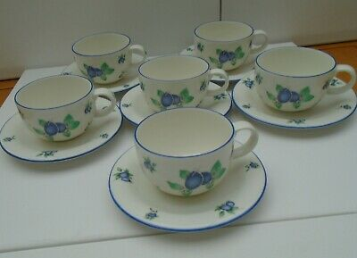 Royal Doulton  Blueberry Cups & Saucers Set Of 6   • 28£
