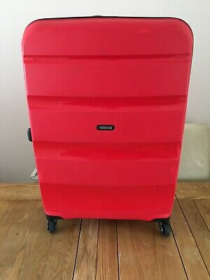American Tourister Suitcase Large Luggage Hard Shell Four Wheels Red Travel Case • 12.99£