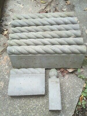Large Grey Rope Twist Edging Stones Victorian Style • 8.10£