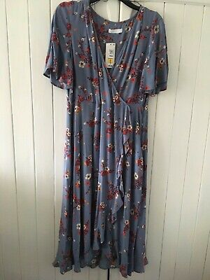 Per Una Dress Size 16 - Brand New With Tags - Floral Pattern - Blue Grey • 10.50£