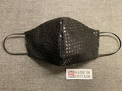 Black Sparkly Fabric Face Mask Adult Reusable Made In Uk Fast Post  • 2.30£