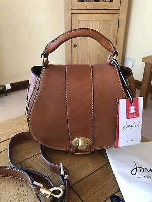 Joules Langton Saddle Heritage Tan Leather Cross Body Grab Bag Womens - BNWT • 140£