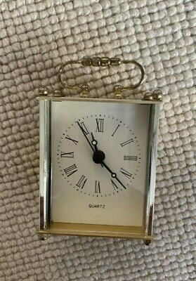 Small Vintage Carriage Clock Working Quartz Brass Clock Collectors • 3.20£