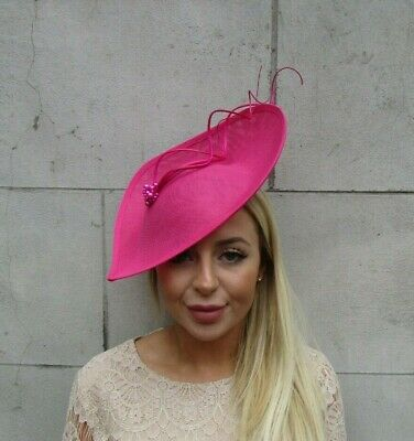 Large Hot Pink Feather Hair Fascinator Hat Wedding Races Big Teardrop Tilted U1 • 37.95£