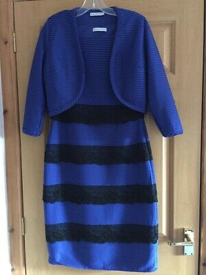 Gina Bacconi Blue And Black Dress & Jacket Size 12 • 30£