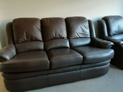 G Plan 3 Seater Sofa & 2 Armchairs Gplan Brown Leather 3 Piece Suite Chairs  • 250£
