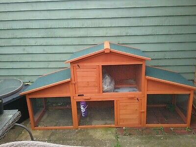 Rabbit Hutch Guinea Pig Free Run Large 2 Tier Double Decker XXL Wooden Cage 7 Ft • 85£