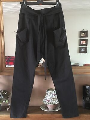 BNWOT Topshop Black Drop Crotch Hareem Trousers With Slouchy Pockets Size 10 • 10£