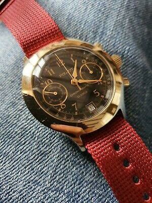 Poljot Gold & Black Chronograph 3133 Hand Wound Wrist Watch Manual Vintage 1980s • 68£