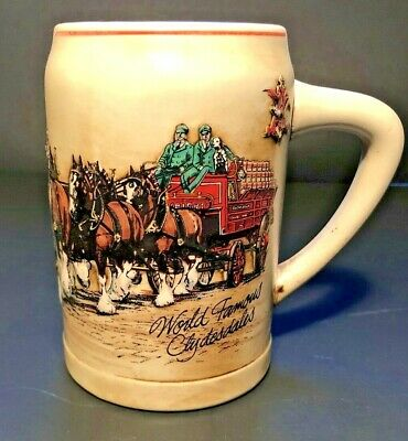 """$ CDN6.58 • Buy BUDWEISER 1987 Clydesdales Series Beer Stein CS74 """"World Famous Clydesdales"""""""