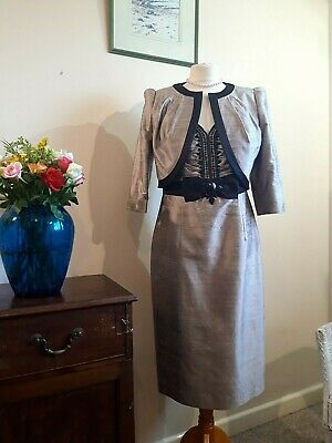 Grey Black Dress And Jacket Size 12 Condici Guest Beaded Occasion Fitted Smart • 75£