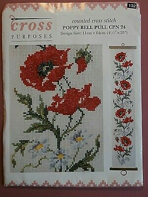 POPPY BELL PULL Cross Stitch  Kit  With Metal End Hangers • 16.99£