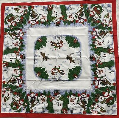 """Small Christmas Tablecloth Square Approx 34"""" X 34"""" Snowmen Trees Presents Unused • 7.99£"""