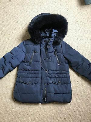Zara Girls Down Jacket Coat Size 8 / 128cm Navy • 1.99£
