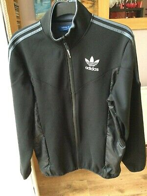ADIDAS Uk XL Mens Tracksuit Top Fleece Lined Black Grey Side Panels Zip Pockets • 12.75£