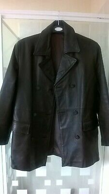 Vintage Long Brown Leather Jacket Heavy Retro/ Goth/ Steam-Punk Size M /Medium • 39£