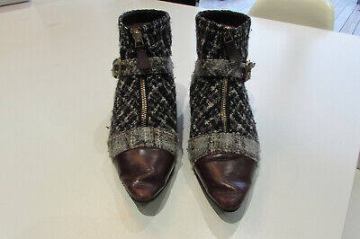 £195 • Buy Chanel Tweed / Leather Flat Ankle Boots 38