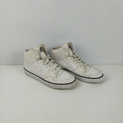 Men's Nike White Leather Court Force High Top Trainers Sneakers Uk 9 Eu 44 Shoes • 29.99£