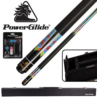 Powerglide Psychedelic Billiards Pool Cue 57  10mm TIP With Attaché Cue Case • 41.50£