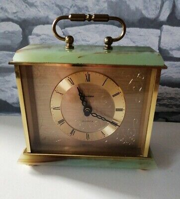 Vintage  Staiger Green Onyx Quartz Clock Made In Germany • 15£