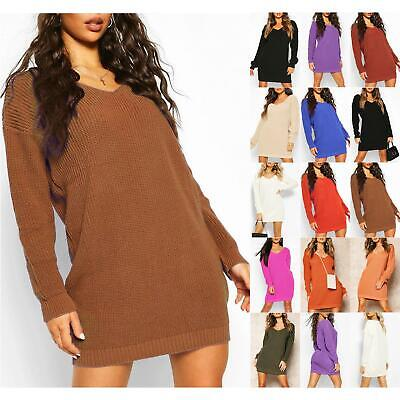 Ladies Womens V Plunge Oversized Jumper Baggy Chunky Knit Sweater Long Top Dress • 7.99£