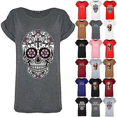 Womens Ladies Gold Foil Oversized Skull Turn Up Cap Sleeve Baggy Tee Top T Shirt • 3.99£