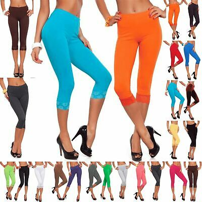 Womens Ladies 3/4 Length Lace Trim Cropped Fitted Jog Trousers Jeggings Leggings • 4.99£