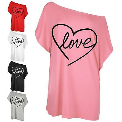 Ladies Womens Oversized Love Heart Batwing One Shoulder Baggy T Shirt Tee Top • 3.99£