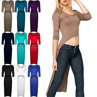 Womens Ladies High Low Back Party Dipped Hem 3/4 Sleeve Stretchy Long Dress Top • 8.49£