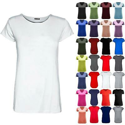 New Womens Ladies Round Neck Plain Casual Stretchy Tee Basic Jersey T Shirt Top • 2.45£